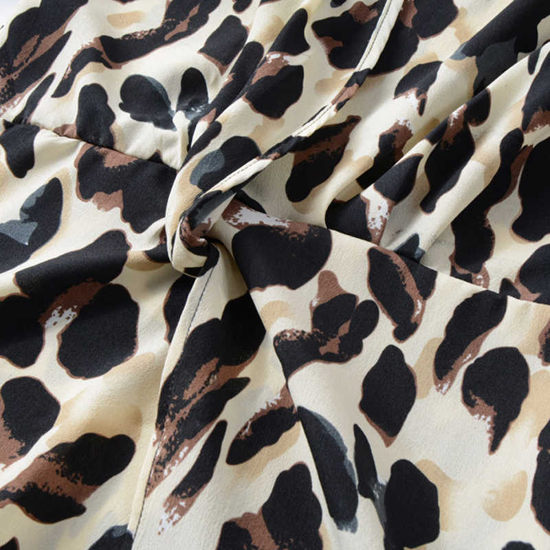 a7b783c8e4b26 GOPLUS Sexy Leopard Print Chiffon Short Dress Women V Neck Long Sleeve  Split Mini Dress 2019 Spring A-line Party Vestidos Female
