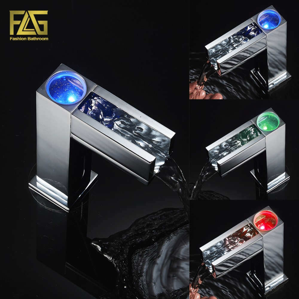 Automatic Water Faucet Cold Hot 3 Color Sensor Led Light Water Faucet Tap For Bathroom Waterfall Faucet Water Mixer Tap 287-66C