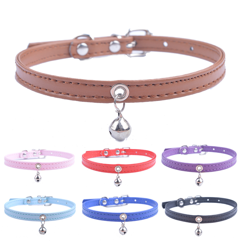 Cute Cat Collar Solid Faux Leather Adjustable Pet Collars With Bell Cats Products For Pets Red Blue Brown Pink Size XS S M