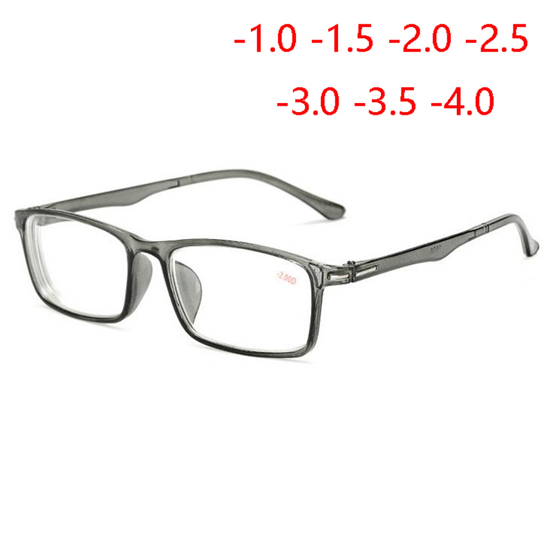 Ultralight Square Myopia Glasses With Degree Retro Student Short-sighted Eyewear Transparent Gray Frame Diopter -1.0 -1.5 To -4