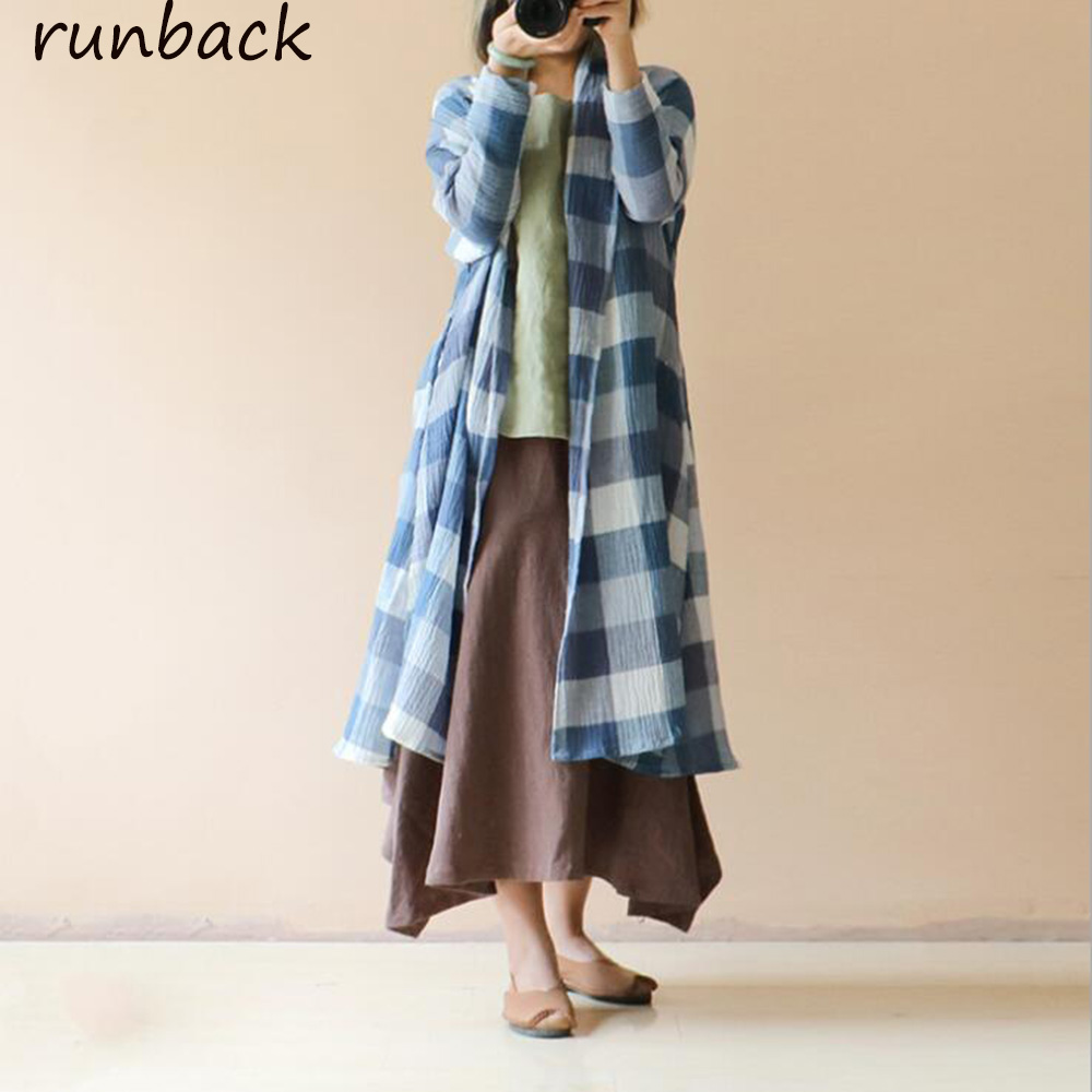 Runback 2019 Summer Women New Plaid Long Sleeve Irregular   Trench   Loose Oversize Cotton Linen Chinese Vintage Style Coats