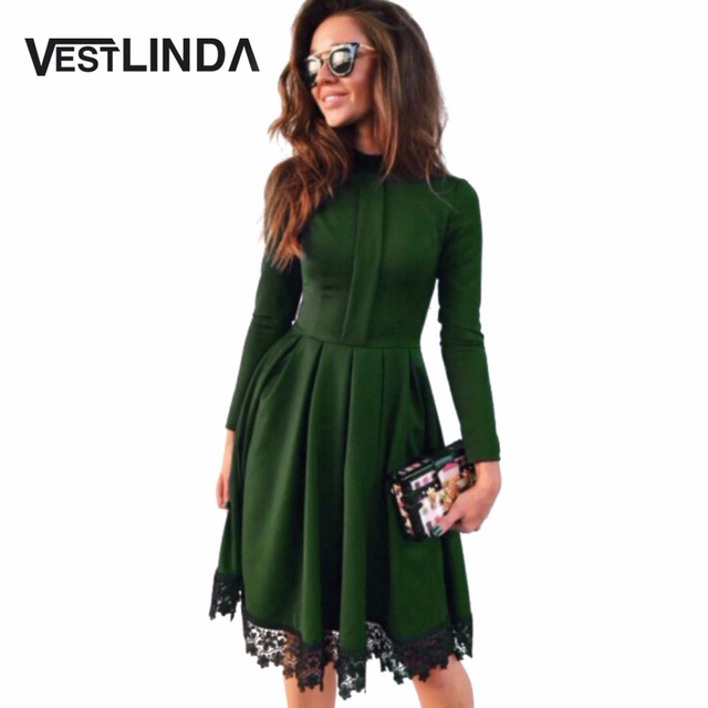 VESTLINDA Autumn Dress Women Party Dresses O Neck Long Sleeve A-Line Slim  Vestido De Festa Lace Spliced Sexy Dress Robe Femme 5e2929a8c0cd