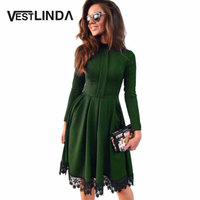 2016 Autumn Winter Dress Women Party Dresses Round Collar Long Sleeve A Line Slim Vestidos Lace