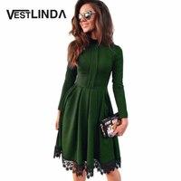 2016 Autumn Winter Dress Women Party Dresses Round Collar Long Sleeve A Line Slim Vestidos Lace