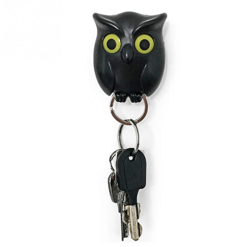 1 PCS Black Night Owl Magnetic Wall Key Holder Magnets Keep Keychains Key Holders