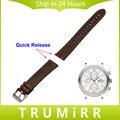 20mm 22mm correa de piel genuina correa de liberación rápida para iwc hombres mujeres reloj de pulsera de acero inoxidable hebilla pulsera marrón