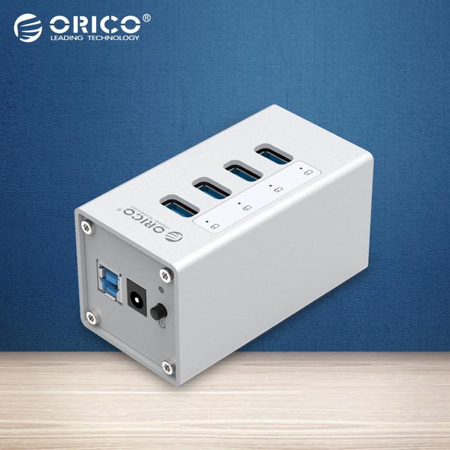 ORICO A3H4-SV Alumínio 4 Portas USB 3.0 HUB Alta Velocidade 5 Gbps com 12 V fonte de Alimentação para Laptops-prata