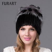 Cappello di inverno delle donne reale del visone cappello di pelliccia con argento pelliccia di volpe pelliccia di coniglio Russia calda di stile di modo di buona qualità di marca femminile caldo cap