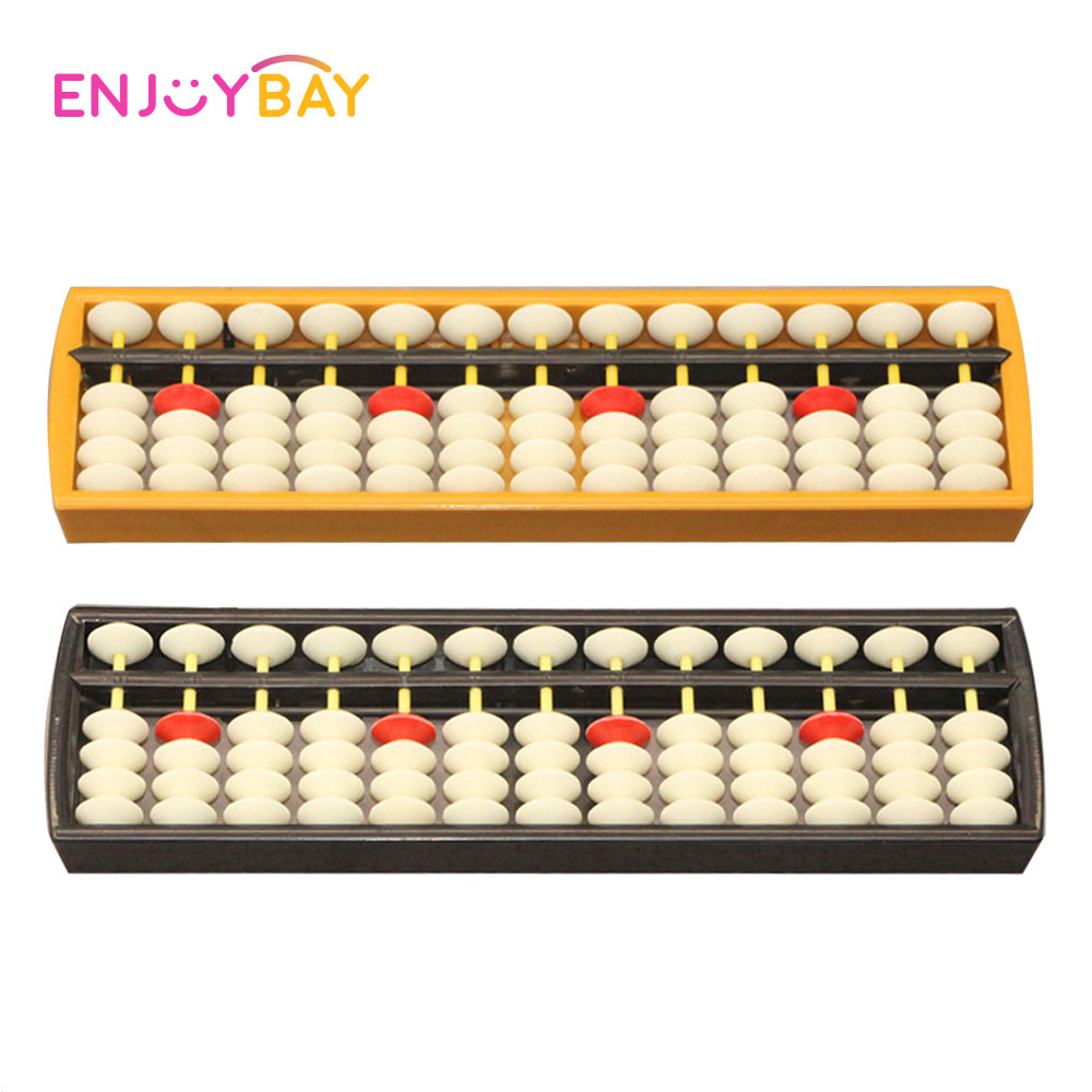 Enjoybay 13 Digits Plastic Abacus Arithmetic Soroban Math Learning Caculating Tools Wooden Frame Mathematics Toy