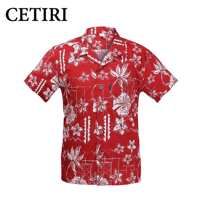 Camisas havaianas de impressão Grande Algodão de manga curta - Roupas masculinas