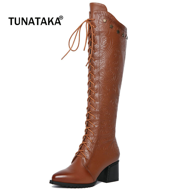 Cow Leather Boots Women Zipper Knee High Boots Fashion Lace Up Pointed Toe Thick Heel Ladies Shoes Autumn Winter Woman Boots