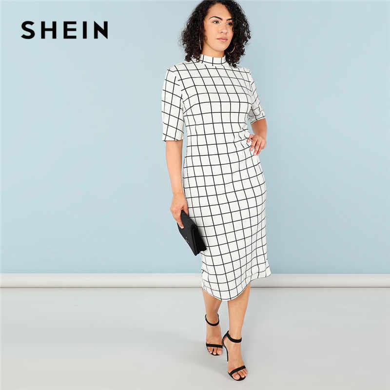 Шеин элегантный плед Bodycon плюс размеры Длинные Карандаш платья для женщин женские 2018 офисные женские туфли Стенд воротник сетки печати