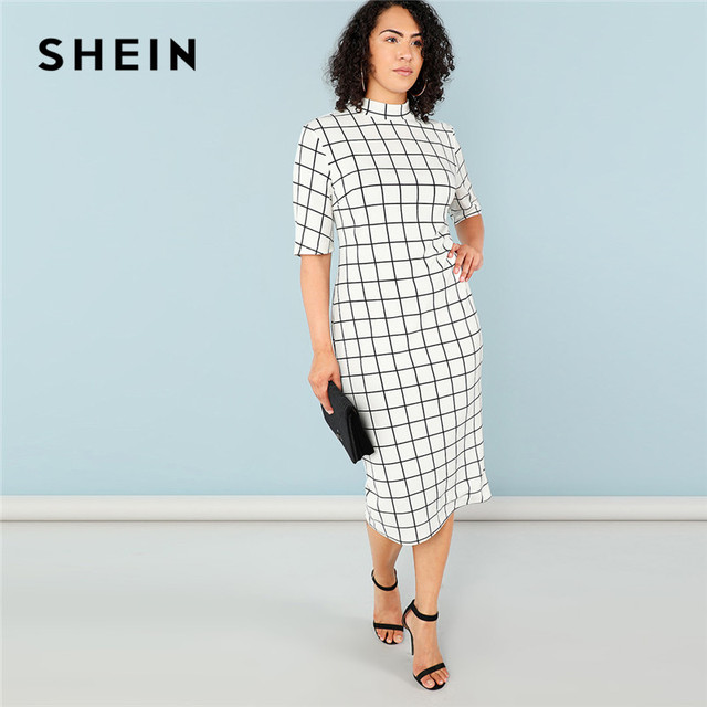 d716f3dada SHEIN Elegant Plaid Bodycon Plus Size Long Pencil Dresses Womens 2018 Office  Lady Stand Collar Grid Print Slim Fit Dress