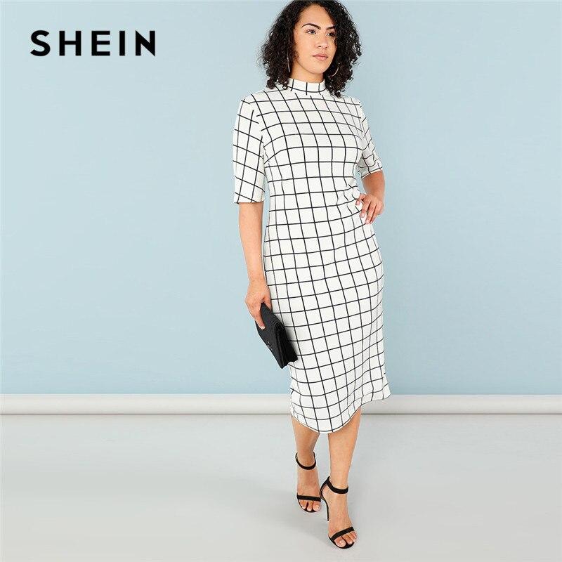 SHEIN tartán elegante Bodycon Plus tamaño lápiz vestidos para mujer 2018 Oficina dama Collar red impresión Slim Fit vestido