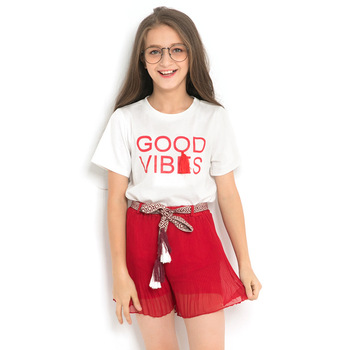 Girls' Suits 2019 Children's Clothing Summer Short Sleeve Tee Shirt+Red Short Pants 2PCS Shorts Sets Cute Kids Clothes 6-14Yrs
