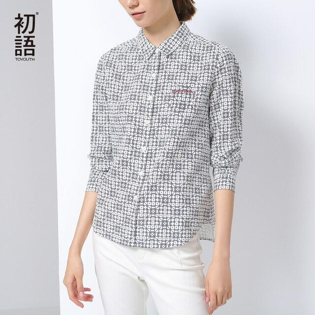 Toyouth 2017 осень-зима женские рубашки новый принт отложным воротником блузки Женская мода Топы