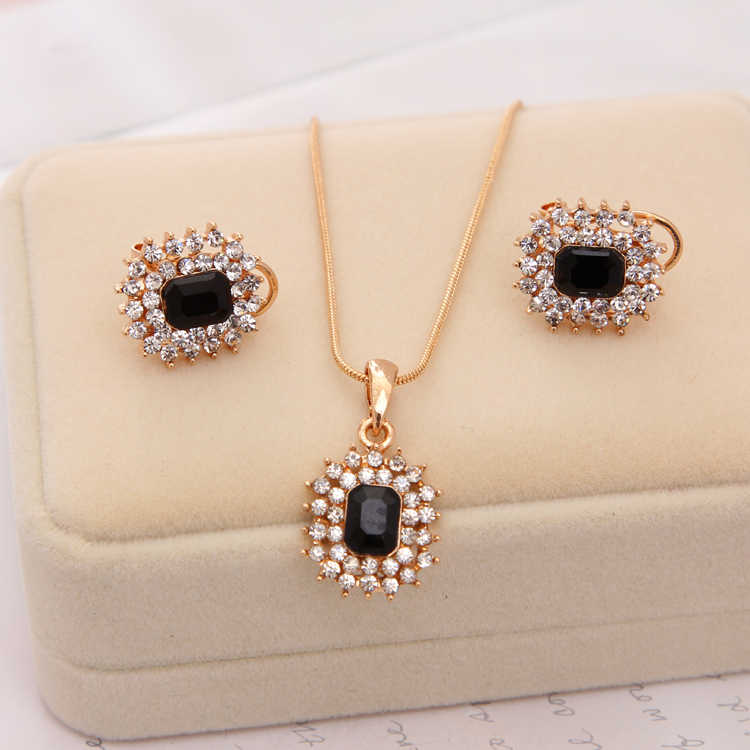 New Wedding Jewelry Sets for Charming Women Dresses Dating Accessories Green Glass Crystal Necklace Earrings Sets
