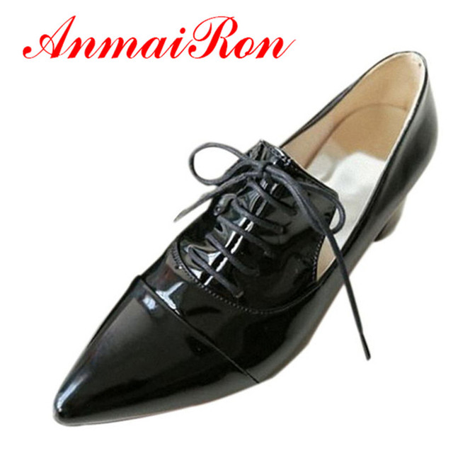 b38d7f0233 ANMAIRON New Womens Platform Flat Oxfords England Pointed toe Lace up Women  Flat Black Carved patent leather Lace-up Flat Shoes