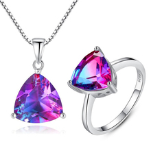 New Big Sale Rainbow Stone Wedding Jewelry Sets For Women 925 Sterling Silver Necklace and Ring Set Bijouterie Aretes