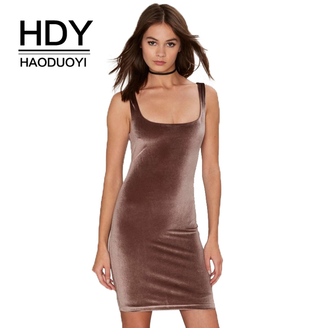 HDY Haoduoyi Brand Women Brown Glamorous Magic Touch Velvet Mini Dresses  Sleeveless Backless Female Sexy Elegant Vestidos Lady 29f59d9e1cae
