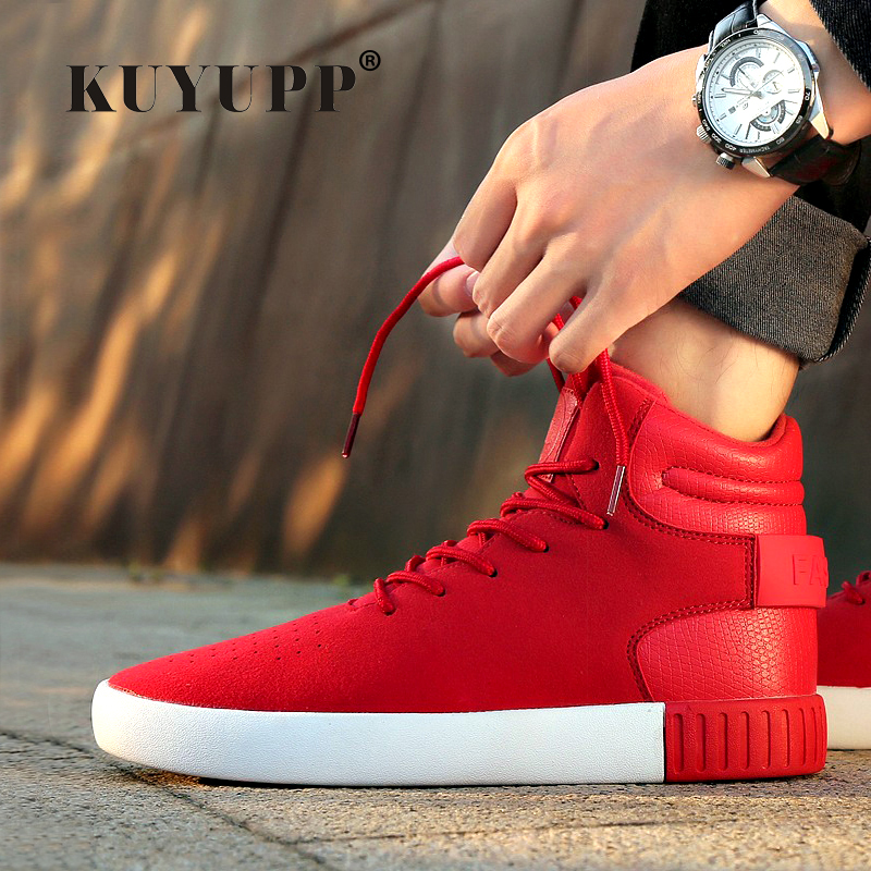 KUYUPP Fashion Shoes Men Skate 2016 Breathable Flat Heel High Top Casual Lace Up Mens Superstar Size 39-44 Y74