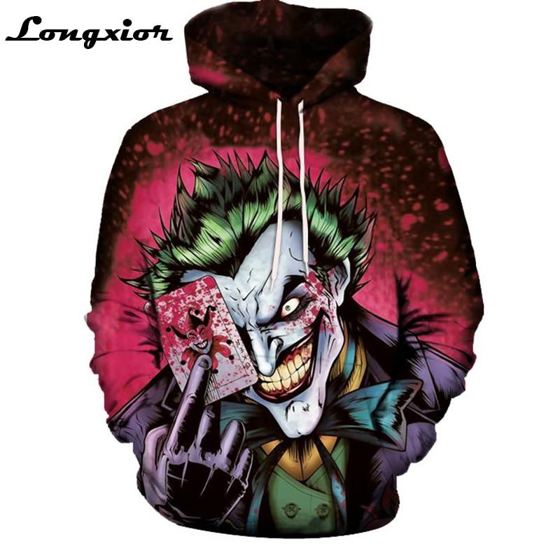 Новые свитшоты Для мужчин бренд Толстовки Для мужчин Джокер отряд самоубийц Дэдшот 3D печати балахон мужской Повседневное костюмы плюс Размеры 5xl M61