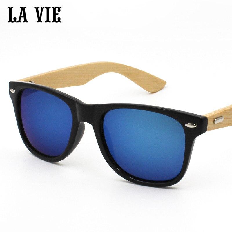 La vie merek retro bambu kayu sunglasses pria wanita uv400 lensa - Aksesori pakaian - Foto 3
