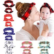 TWDVS Mom/Kids Fashion Headband Hai Elastic Ears Hair Bands Girls Headwear Hair Knot Bow Cotton Hair Accessories For Women