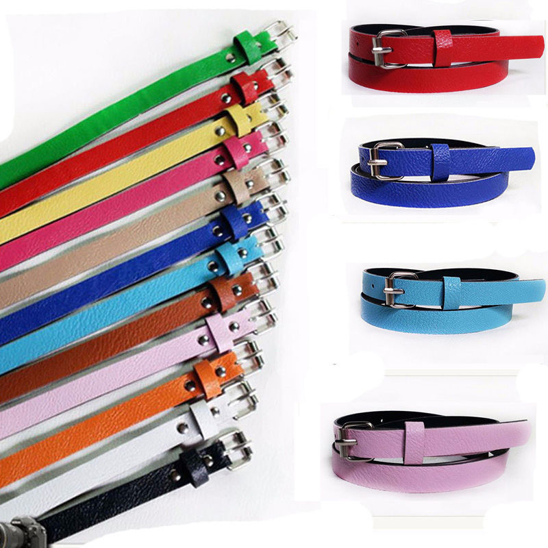 Multi-Color Faux Leather Women Belts Metal Buckle Casual Thin Skinny Adjustable Waistband