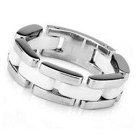 Uomini in acciaio inox anello in ceramica cava nastro d'argento a rete bianco unico lucido links anelli in acciaio inox all'ingrosso