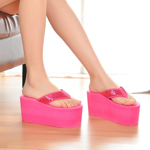 Шлепанцы SH041101 женские для пляжа, сверхвысокие сандалии на танкетке, без застежки, модные тапочки с блестками, на лето