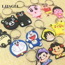 Mixed 10pcs Japanese Anime Figure Key Chain PVC kawaii Pikachu Peko Pokemon Cartoon Ring Kid Toy Gift Holder Trinket ACT017