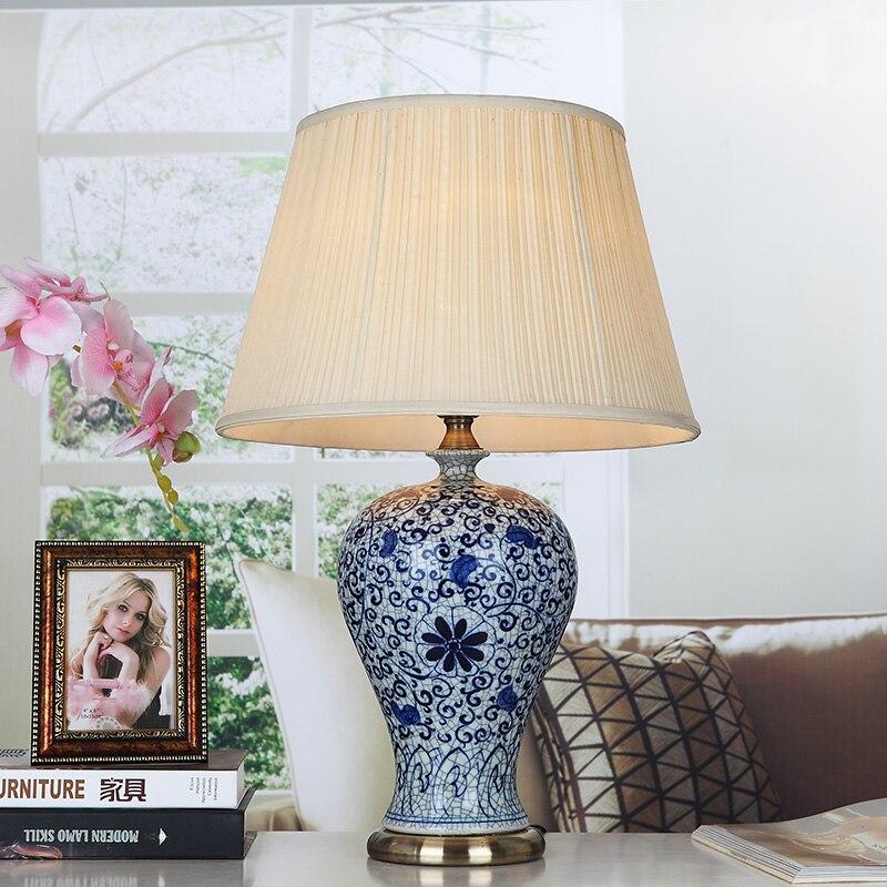 Винтаж стиле китайский синий и белый фарфор Керамическая Настольная Настольные лампы для постели