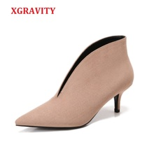 XGRAVITY avrupa seksi sivri burun kız ince topuk kadın ayakkabı derin V tasarım bayan moda ayakkabılar zarif avrupa kadın botları A059