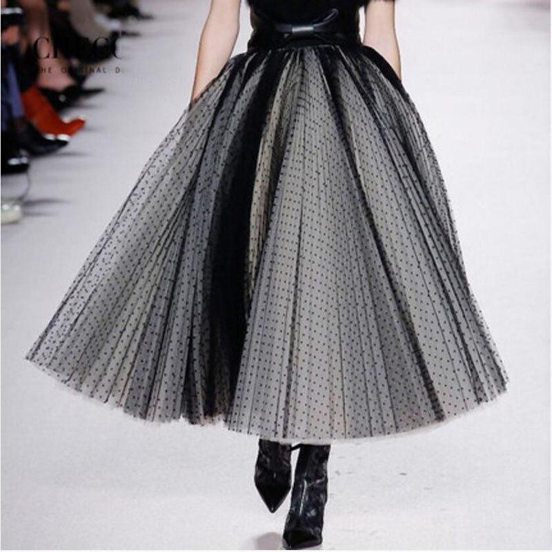 6f7775242208 New Fashion Dot Tulle Womens Skirts High End Design Women Skirt Saias Midi  Saia Pleated Tulle