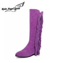 Brand Black Suede Boots Women Fringed Boots Korean Autumn And Winter 2015 Flat Heel Knee High Boots Purple Botas Femininas
