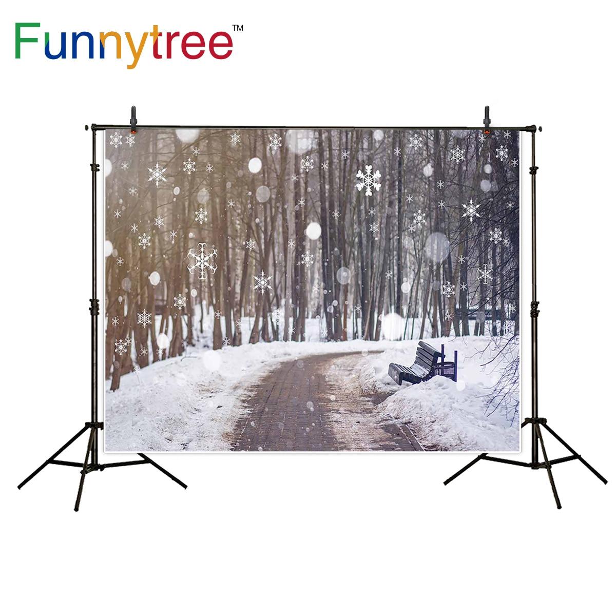 Funnytree фотографии backdropsSky снежинки деревянная скамья photocall фотостудия средства детской фотографии