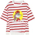 2016 new women cartoon bugs bunny loose pullover stripe t-shirt woman cute tee top ladies split tshirt side slit striped T Shirt