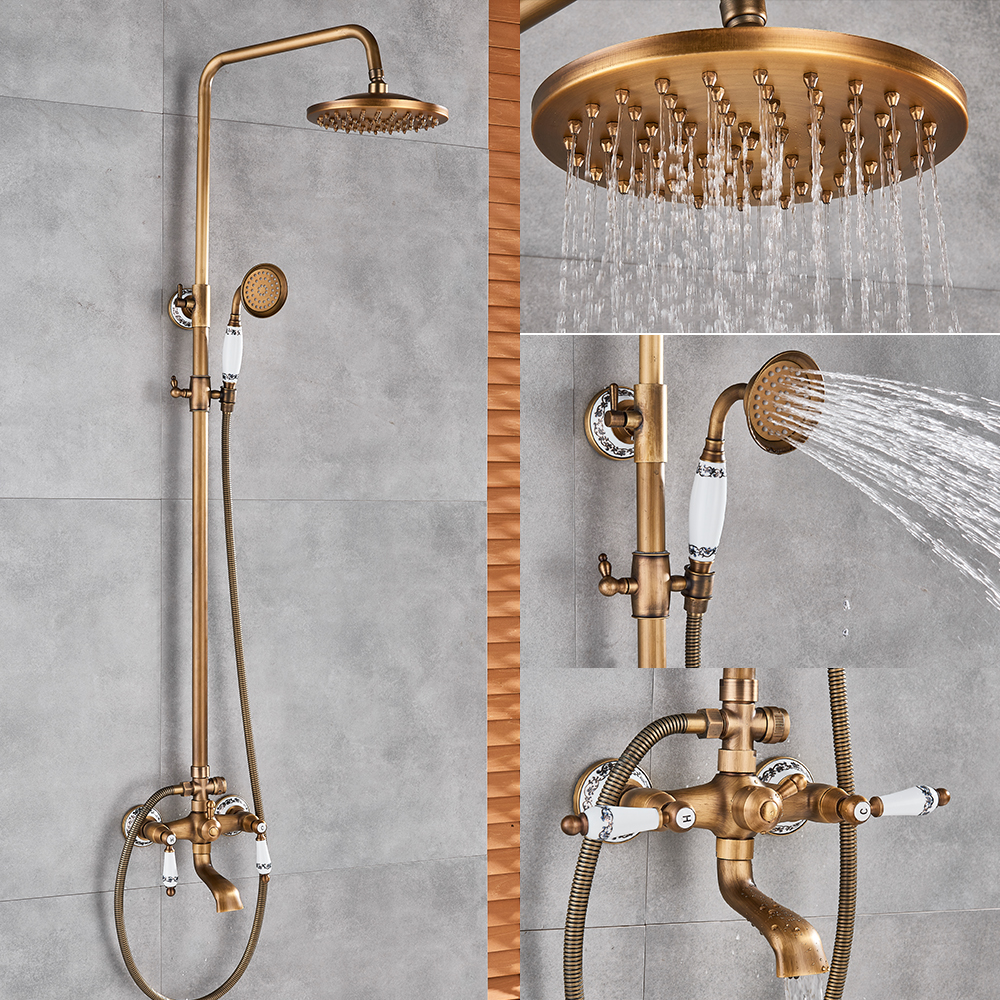 Us 90 0 45 Off Clic Antique Br Bathroom Shower Faucet Set Bathtub Bath Tap Rainfall Head Swivel Watering In