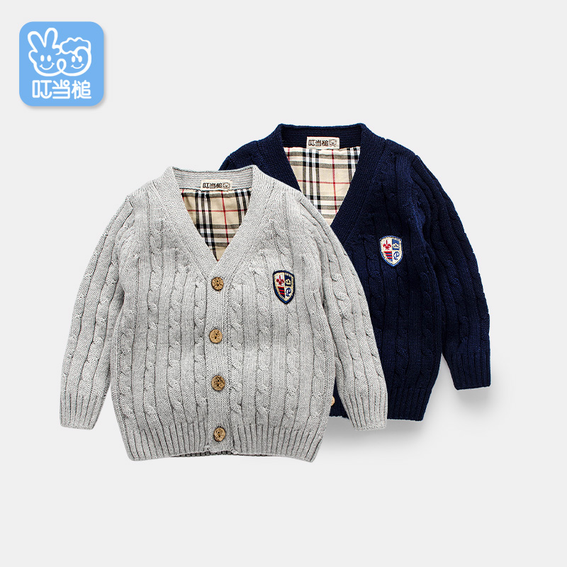 Dinstry Boys Girls Spring and Autumn Baby Sweater Cardigan Baby clothes British Wind Knit Sweater bespeco zx210