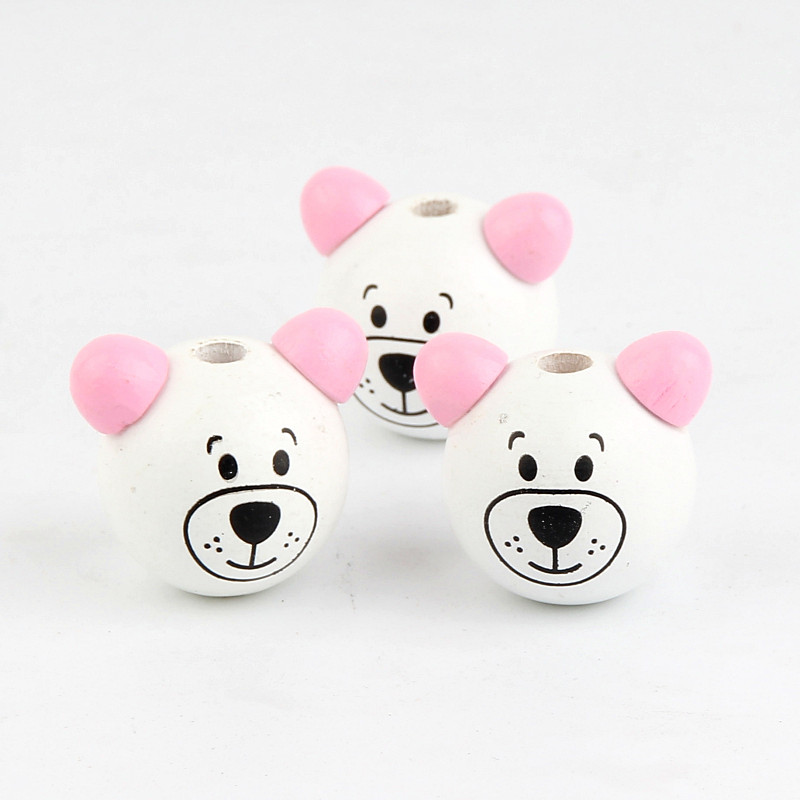 Wood Beads 5Pcs Pink ear Wooden 3D Cartoon Bear Ball Wood Beads for Jewelry Making DIY Bear Pacifier Clip