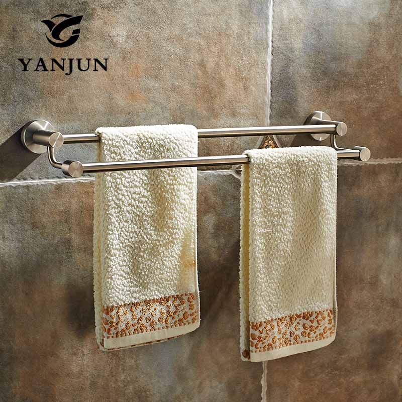 YANJUN Wall-mounted 304 Stainless Steel Double Towel Bars Towel Racks Towel Holder 60CM Bathroom Products For Home YJ-7559 aothpher chrome 60cm wall mounted bathroom chrome polish towel bars towels racks stainless single towel bar for bathroom