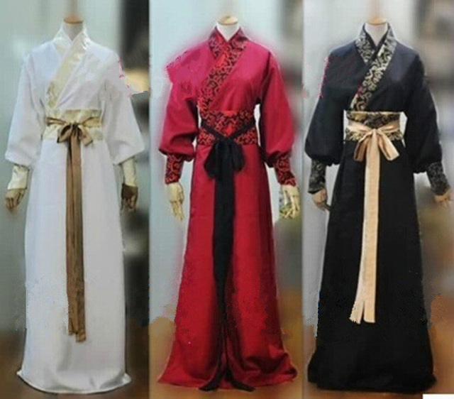 Men Chinese Stand Neck Ancient Robe Full Length Gown Vintage Stage Cosplay Coat