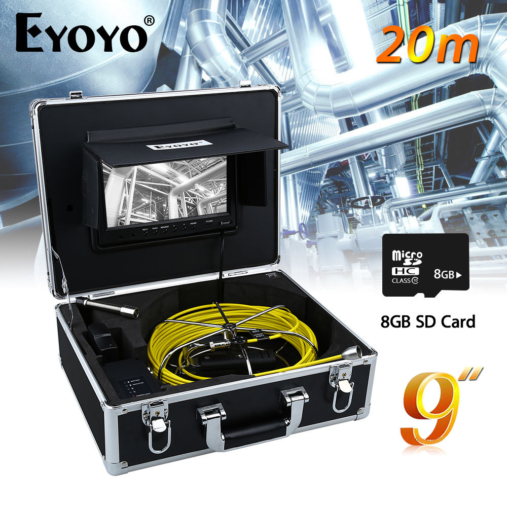 Eyoyo WP90B 20M 9 1/3inch CMOS Monitor 17mm Waterproof Sewer Drain Pipe Inspection Video TFT Snake Inspection DVR + 8GB Card