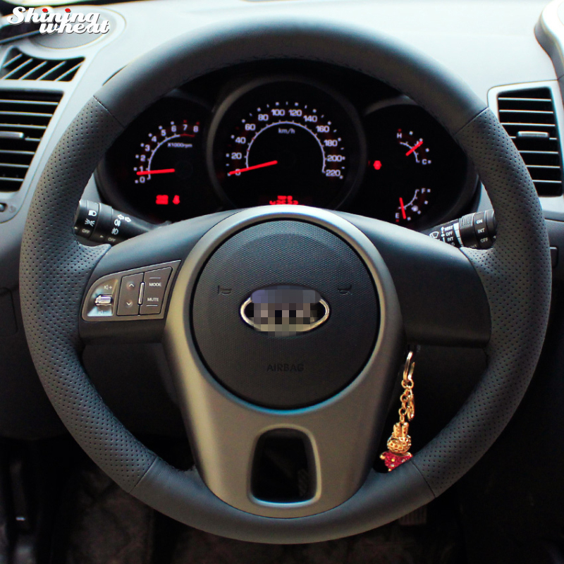 Brilhante trigo mão-costurado capa de volante de couro preto para kia forte kia alma kia rio 2009-2011