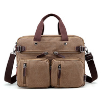 Brand Men Canvas Bag Leather Briefcase Travel Suitcase Messenger Shoulder Tote Back Handbag Large Casual Business Laptop Pocket