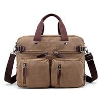 Brand Men Canvas Bag Leather Briefcase Travel Suitcase Messenger Shoulder Tote Back Handbag Large Casual Business Laptop Pocket