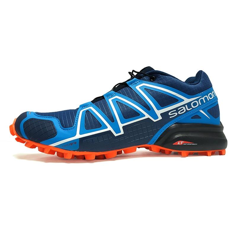 Salomon Chaussures Hommes Speed Cross 4 CS Zapatillas Hombre Chaussures de Course des Hommes Baskets de Sport Sport Chaussures Bleu Orange Chaussures