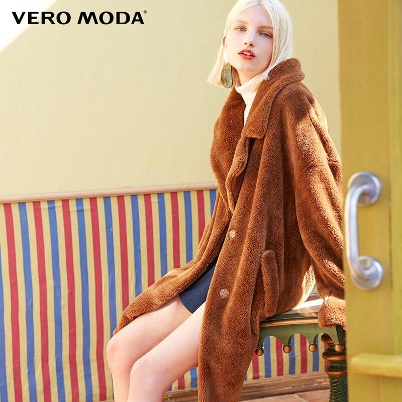Vero moda lapela queda ombro jaqueta casaco longo inverno ursinho de pelúcia | 318309503