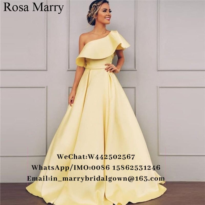 Sexy Yellow Plus Size Cheap Prom Dresses 2019 One Shoulder Long Satin Arabic African Girls vestidos de fiesta largos